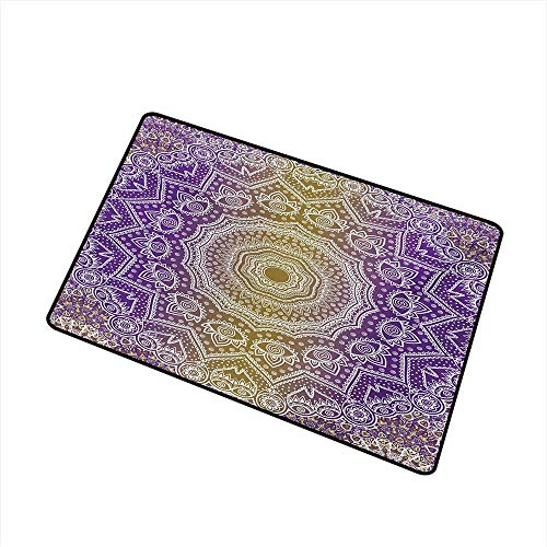 Becky W Carr Yellow and Purple Commercial Grade Entrance mat Mandala Ombre East Tradition Deep Sacred Mystic Magic in Cosmos Psychic Image for entrances, garages, patios W15.7 x L23.6 Inch,Violet