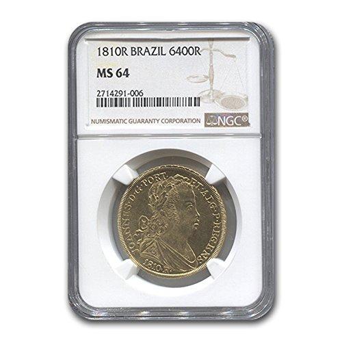 1810 BR Brazil Gold 6,400 Reis Prince Regent John MS-64 NGC Gold MS-64 NGC