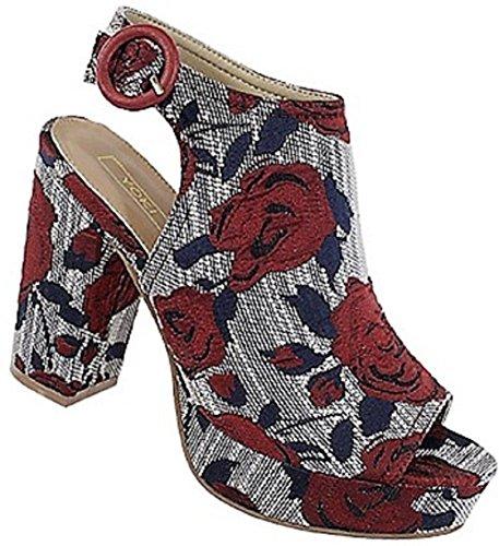 Yoki Syler-20 Embroider Brocade Open Peep Toe Block Heel Platform Sandal Shoe Red 7.5 (Platform Wedge Slingback)