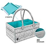 Baby Diaper Caddy Organizer, Portable Nursery Storage Bin with Changeable Compartments, Baby Shower Gift Basket for Diapers & Baby Wipes, Nappy Bags for Child by Dissaotoo