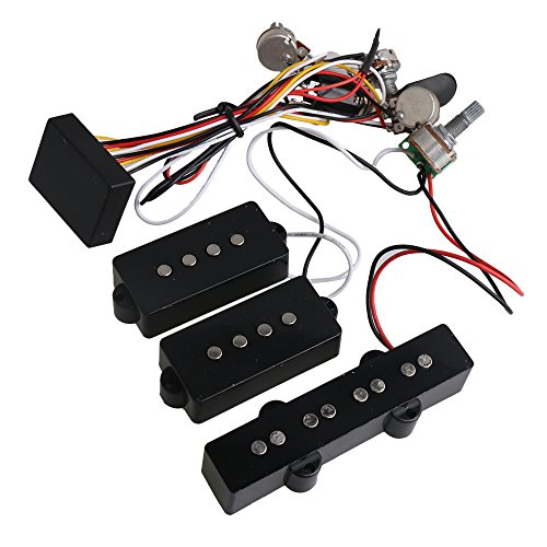 (Yibuy 3 Band Active Bass Preamp Equalizer 4 Controls for P J Bass Pickup Set)
