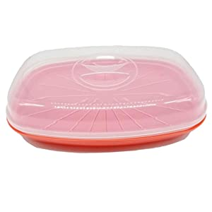 KIRKWOOD KITCHEN Microwavable Fish and Veggie Steamer, Steam Vent, Vegetable Steamer, Cooker with Lid, BPA FREE, Dishwasher Safe