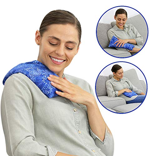 Nature Creation Microwave Heating Pad | Portable Heating Pack for Cramps, Arthritis, Joints Pain, Soring Muscles & Aching Feet | Reusable Microwave Hot Pack for Pain and Stress Relief (Blue Flowers)