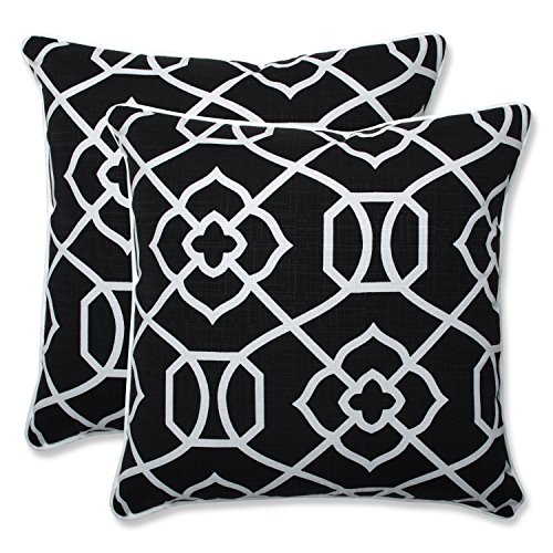 Pillow Perfect Outdoor | Indoor Kirkland Black 18.5-inch Throw Pillow (S, 2 Piece