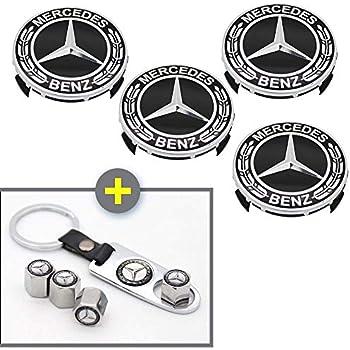 Mercedes Benz MB Logo Valve Stems Caps Covers Silver Chromed Roundel Emblem Tire