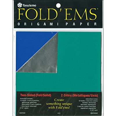 "Fold 'ems Origami Double-Sided Foil/Solid Paper 5.875"" 18/Pk-Assorted"