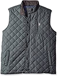 Mens Big and Tall Quilted Vest with Corduroy Collar