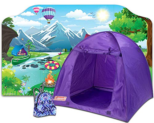 Sophia's Doll Camp Set with Outdoor Backdrop, Coleman Tent and Purple Print Backpack for 18 Inch Dolls | 3 Fun Pieces for Dolls or Plush Friends' Camping Trip