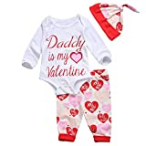 Newborn Baby Girl 3pc Suit Daddy Is My Valentine Romper+Heart Print Pants+Hat (3-6M, White)