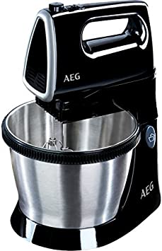 AEG SM3300 Batidora de Varillas Amasadora Serie 3 con Bol, Apta para Lavavajillas, 5 Velocidades, Función Turbo, Varillas Batidoras, Varillas Amasadoras, Aptos Lavavajillas, 450 W,3.5L,Negro