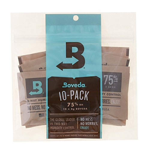 Boveda 75% RH 2-way Humidity Control 8 Gram 10-Pack, Humidifier/Dehumidifier Travel w. Your Cigars for Small Jars & Bags ()