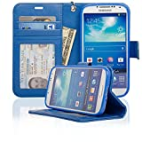Navor Folio Wallet Leather Case Samsung Galaxy S4 Multipurpose with Removable Strap - Hot Blue
