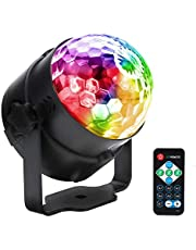 RGB LED Disco Ball Party Stage Light Sound Activated with Remote Control DJ Lighting, Crystal Magic Strobe Effect Lamp