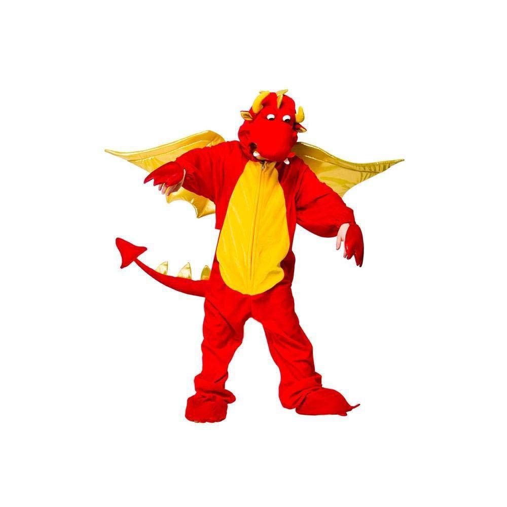 Disfraz de dragón rojo y amarillo