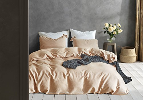 CoutureBridal Solid Color Duvet Cover Set Twin Almond Yellow Girls Washed Yarn Dyed Microfiber Chic Modern Bedding Sets with Zipper,Durable and Breathable-3 Pieces ()