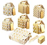 Pack of 36 Paper Treat Boxes - Gable Favor Boxes, Fun Party Play Goodie Boxes, 3 Dozen Bright Golden Birthday Party, Shower Loot Gift Boxes, 6 Designs, 2 x 2 x 2 inches