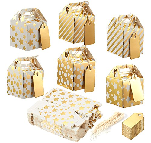 Pack of 36 Mini Paper Treat Boxes - Gable Favor Boxes, Fun Party Play Goodie Boxes, 3 Dozen Bright Golden Birthday Party, Shower Loot Gift Boxes, 6 Designs, 2 x 2 x 2 Inches