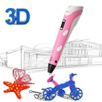 3D Printing Pen for Kids,Juboury JBY-II 3D Drawing Pen with LCD Temperature Display for Model Printing,Art Design,DIY and Crafts Drawing-Compatible with 1.75mm ABS and PLA Filament (Pink)
