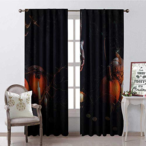Hengshu Halloween Pumpk Sheep Skull Blackout Window Curtain Customized Curtains W96 x -