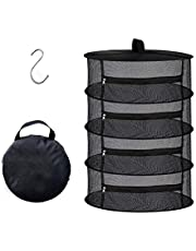 Desy & Feeci 4 Layer Herb Drying Rack- Folding Mesh Hanging Basket Dryer Net with Orange Zippers for Seeds Flowers Buds Plants Garden Outdoor Bumper Harvest