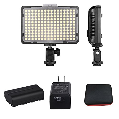 Digital SLR Camera Lighting Kit - Bemaxy 176 Ultra Thin Dimmable Digital Camera Photo/Studio Video LED Light Camcorder Lamp Panel with Color Filters for Nikon, Canon, Panasonic( WITH BATTERY) - Li Ion 600mah Photo Battery