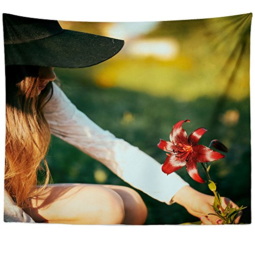 Price comparison product image Westlake Art Wall Hanging Tapestry - Hat Girl - Photography Home Decor Living Room - 68x80in (a14z)