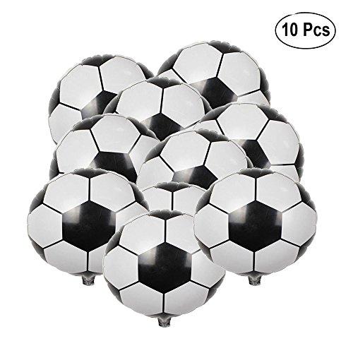 BinaryABC Soccer Balloons,Football Party Supplies,Foil Soccer Balloons,18 Inch,(10pcs)