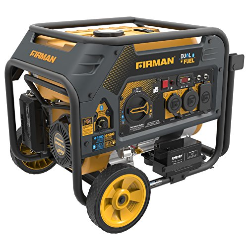 Firman H03651 4550/3650 Watt Electric Start Gas or Propane Dual Fuel Portable Generator CARB and cETL Certified, Yellow (List Parts Heater Patio)