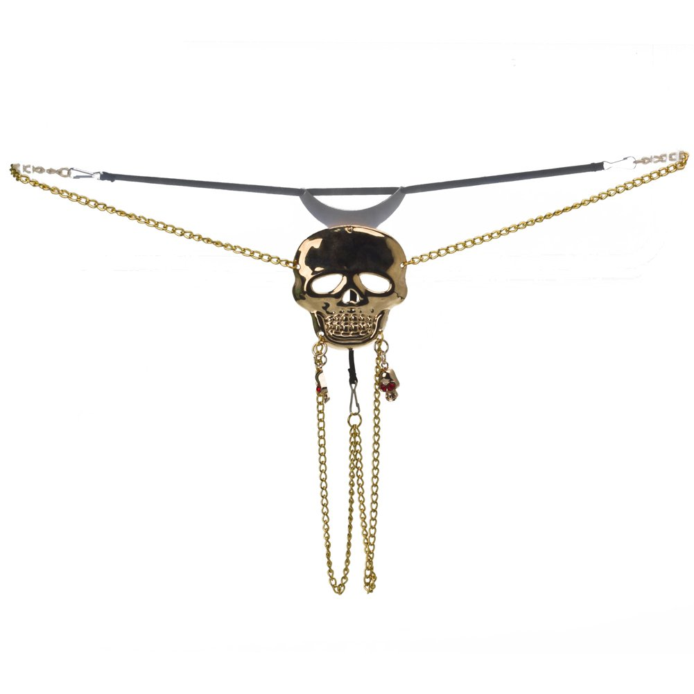 Fancy Skull Vaginal Jewelry G-string Lingerie Gold Chain Thongs J5652#D1