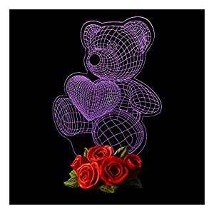 Artsay Teddy Bear LED Light Love Gifts for Kids Baby Boys Girls Men Women Valentines Day Christmas Birthday, Color Changing
