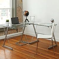 Walker Edison 3-Piece Contemporary Glass and Steel Desk, Silver by Walker Edison
