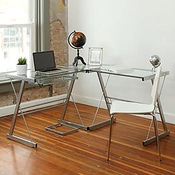 Walker Edison 3-Piece Contemporary Glass and Steel Desk, Silver