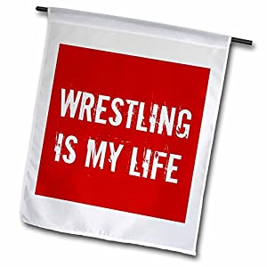 3dRose fl_195364_1 Wrestling is My Life Red White Garden Flag, 12 by 18-Inch