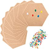 10 Pack Hexagon Felt Board Pin Board Bulletin Board Hexagon Cork Tiles Self Adhesive with 100 Pieces Pushpins Mini Wall Bulletin Boards, Pin Board-Decoration for Pictures