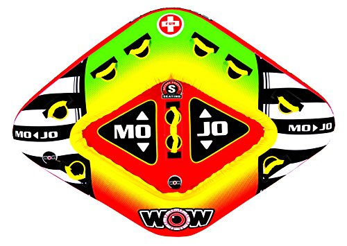 WOW World of Watersports, 16-1070, Mojo 1 or 3 Person Towable Tube, Front and Back Tow Points by WOW Sports