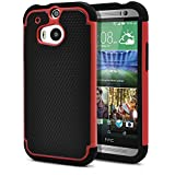 HTC One M8 Case, MagicMobile® Rugged Durable Impact Resistant Shockproof Double Layer Cover Hard Armor Shield Shell and Soft Flexible Silicone Case for HTC One 8 Color: Black - Red [Compatible Only with HTC One M8]