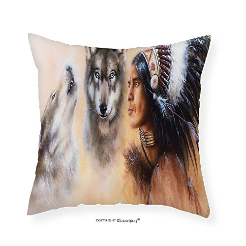 VROSELV Custom Cotton Linen Pillowcase Native American Blur Mystic Painting of Young Native Man Ethnic Feather with Wolves Ancient for Bedroom Living Room Dorm Multicolor 24
