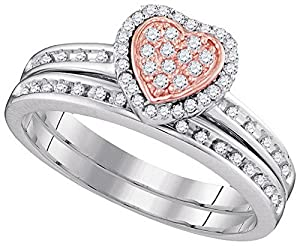 10kt White Gold Womens Round Diamond Rose-tone Heart Bridal Wedding Engagement Ring Band Set 1/4 Cttw