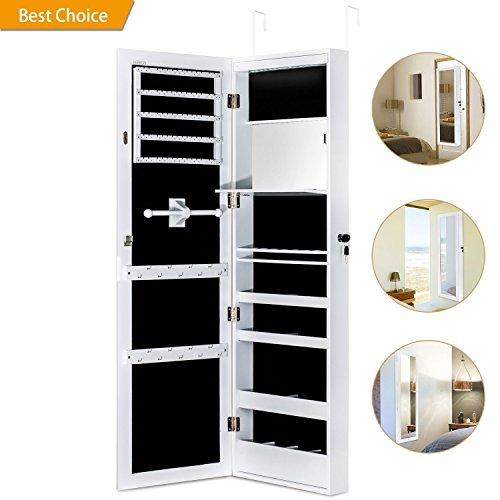 New Jewelry Cabinet Armoire with Mirror Led Light Wall Door Mounted Organizer Storage,White