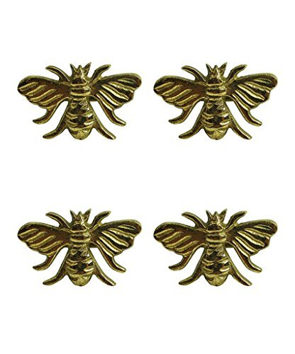 Design Imports Honey Bee Table Linens Gold Bee Brass Napkin Rings, Set of 4 ()