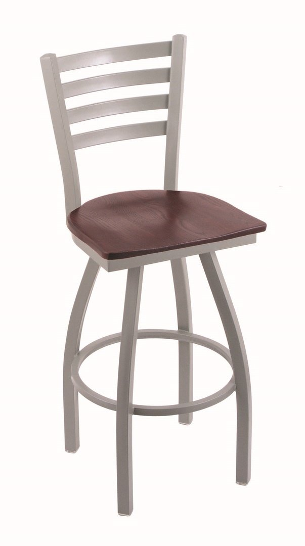Holland Bar Stool Co. 410 Jackie 36 Bar Stool with Anodized Nickel Finish and Swivel Seat, Medium Maple