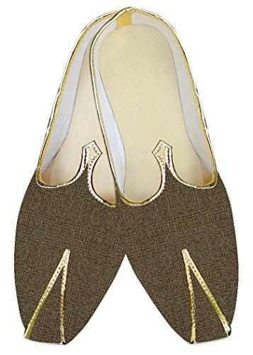 INMONARCH Herren Braunoliv Kontrollen Jute Polyester Hochzeit Schuhe MJ015389