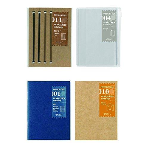 Midori Traveler's Notebook/ Passport Size Refill BUNDLE SET! (A-set) Connection Band #011 + Zipper Case #004 + Lined Notebook #001 + Kraft File Folder #010