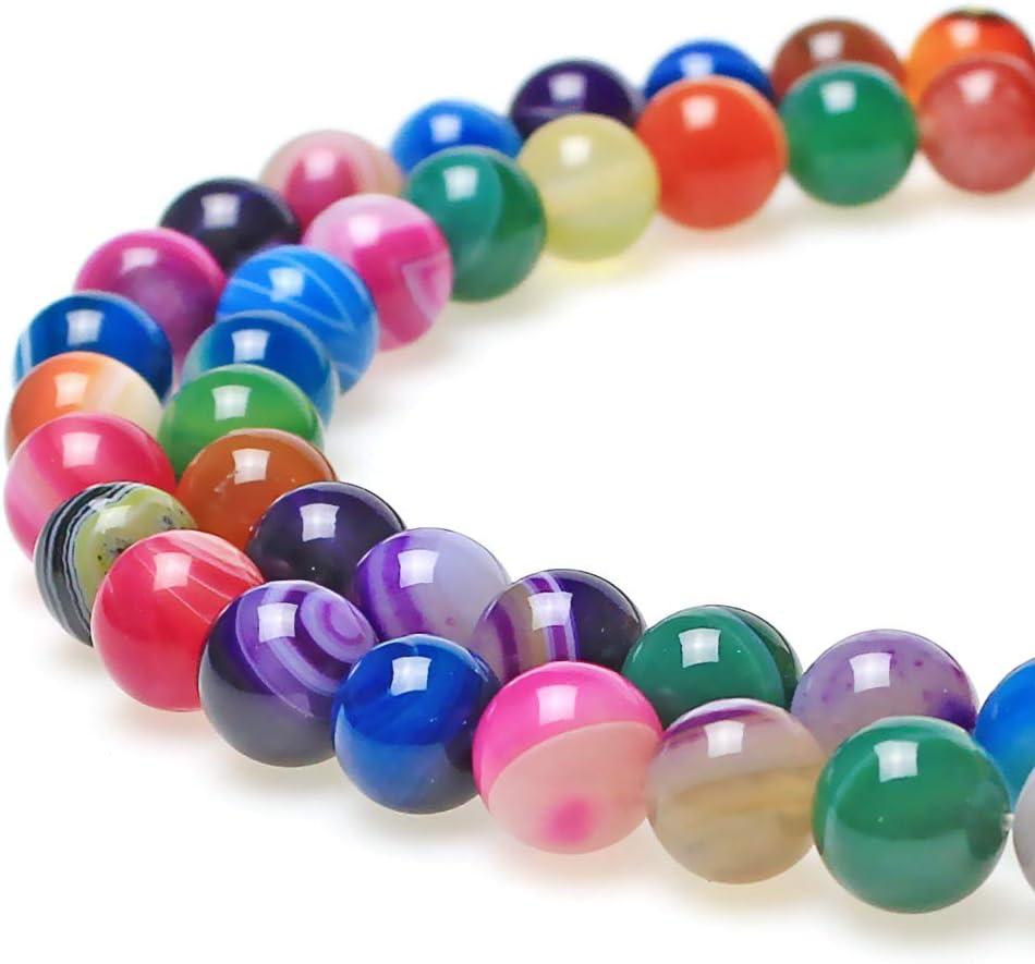 jartc cuentas de piedra natural ágata de rayas multicolor bandas Spacer Beads para DIY Bisutería Pulsera Collar 6 mm