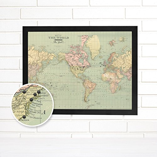 Personalized Vintage Map of the World Push Pin Map Art - Personalized World Map With Pins