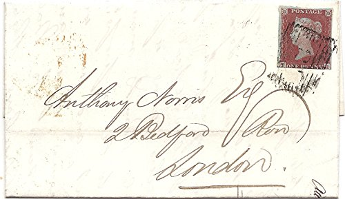 1854 UK Postal Cover 1 Penny England Postage Stamp Queen Victoria Postmarked In London, England June 15,1854 Red Wax Sealed Folded Over Letter -