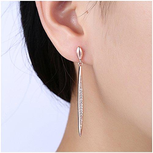 Gold Design Earrings - Long Marquise Chandelier Earrings Dual Spike Zirconia Crystal Dangle Earrings for Women, Bride (Rose Gold)