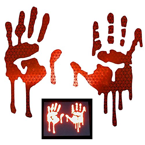 Reflective Auto Decals - customTAYLOR33 High Intensity Grade Reflective Bloody/Dripping Hands Decals for Helmets, Windscreens, Rear Windows, Bumper Stickers (3 inches height, Red)