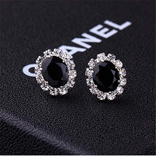 Creative Stylish Oval Diamond Earrings Multicolor Flash Diamond Zircon Earrings,Black