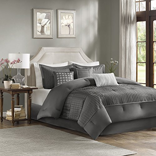 California King Modern Bedroom Set - Madison Park Trinity Cal King Size Bed Comforter Set Bed in A Bag - Grey, Pieced – 7 Pieces Bedding Sets – Ultra Soft Microfiber Bedroom Comforters